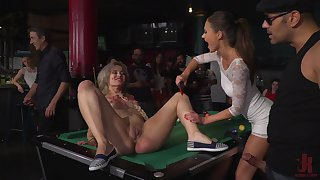 Babes Tina Kay and Yunno X pounded on a pool table in a public orgy