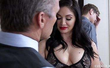 Two dicks for a black-haired stunner in stockings Candidates Lexis