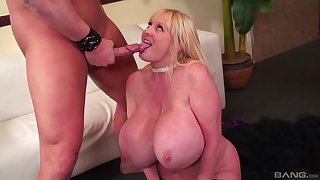 Mature with huge tits, strong cock sucking with an increment of rough porn