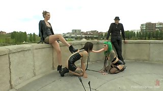 Mona Wales and Satrina dressed up in latex humiliated and fucked