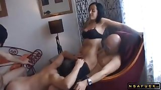 Dominatrix in hardcore threesome swinging both ways action