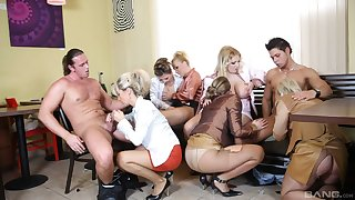 Female orgy with a couple of strippers with humongous dicks