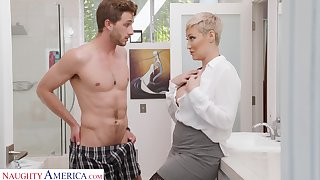 Single woman Ryan Keely is spying on son's best friend wanking in the visitor room