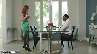 Redhead mature Lacy Lennon in stockings having sex in a BBC