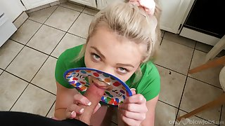 Erotic POV blowjob by step sis on get under one's big dick