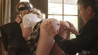 Blindfolded Devon Green in miniskirt fucked by an older neighbor