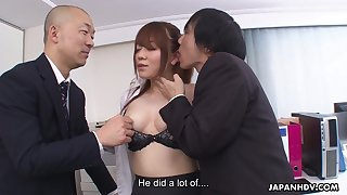A talented secretary has naughty making love with two men not far from an office