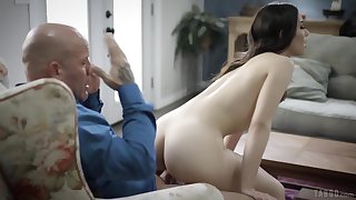 Naughty brunette gags and sucks dick like a whore