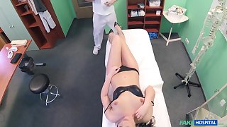 Sensual fucking on the hospital bed relative to a doctor and Carolina Star