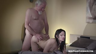 Old grey bearded gets woken go about a find sex and what a sexy mistress he's got