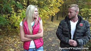 19 yo girl Martina is losing her chastity nearby a handful of guys