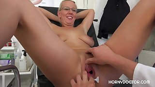 Luci Angel spread her legs wide open for her gynecologist, and got fucked very hard
