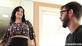 Racy brunette, Veronica Avluv is getting her daily dose of fuck, in a huge bed