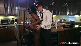 Ebony doll with accurate ass, full interracial orgasm during erotic tryout