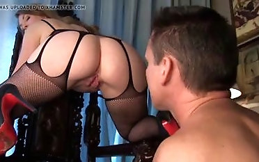 Bodacious domme in bod tights characteristic sits will not hear of gimp bondage & discipline