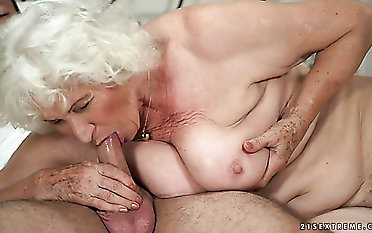Repugnant hefty ash-blonde haired mature bi-atch Norma is pummeled rigid